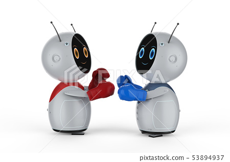 Mini robot with boxing gloves 53894937