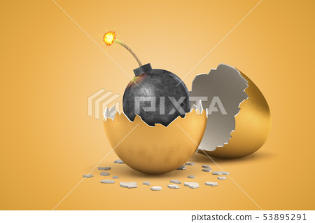 3d rendering of black round bomb with burning fuse that just hatched out from golden egg. 53895291