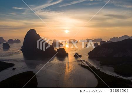 Aerial view Phang Nga bay, Thailand 53895505