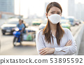 Woman wearing N95 mask to protect PM2.5 pollution 53895592