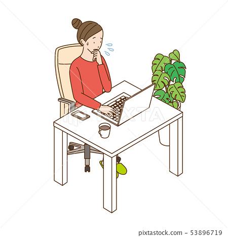 個人計算機婦女例證 53896719