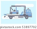 Tow truck delivers the damaged vehicle.Line vector illustration 53897702