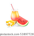 Cocktail in Glass Watermelon Vector Illustration 53897728