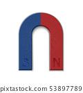 Horseshoe magnet isolated on white 53897789