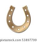 Bronse horseshoe isolated on white 53897799