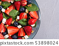 Summer Strawberry salad with spinach , cheese , 53898024