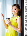 woman enjoy morning with coffee 53898583