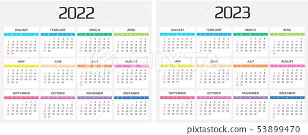 Monthly Calendar 2022 2023.Calendar 2022 And 2023 Template 12 Months Stock Illustration 53899470 Pixta