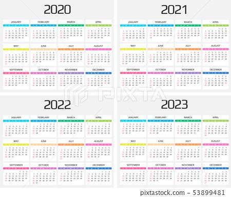 2023 And 2022 Calendar With Holidays.Calendar 2020 2021 2022 2023 Template 12 Stock Illustration 53899481 Pixta