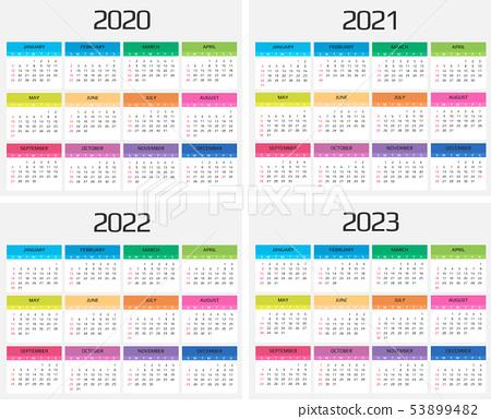 2023 And 2022 Calendar With Holidays.Calendar 2020 2021 2022 2023 Template 12 Stock Illustration 53899482 Pixta