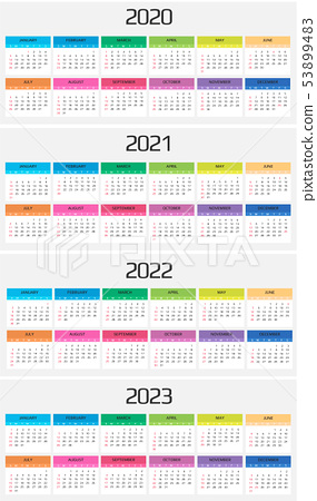 Calendar 2020 2021 2022 2023 Template 12 Stock Illustration 53899483 Pixta