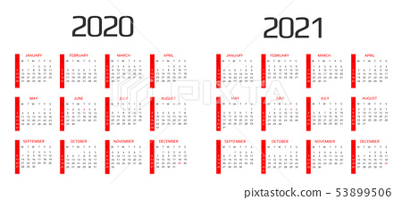 Calendar 2020 and 2021 template. 12 Months. include holiday event 53899506