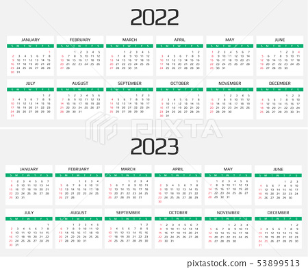 2023 And 2022 Calendar With Holidays.Calendar 2022 And 2023 Template 12 Months Stock Illustration 53899513 Pixta