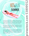 Hot and Fun Summer Woman Surfing on Board Poster 53899552