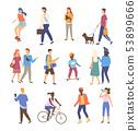 People Activity Outdoor, Walking Friends Vector 53899666