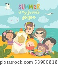 Summer travel. Happy kids traveling summer in exotic place and relax at sea 53900818