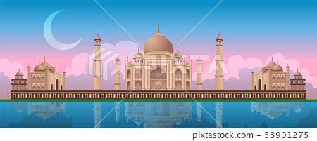 Sunset at Taj Mahal in Agra, India, panoramic vector 53901275