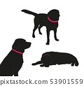 Set of black silhouette of big dog with collar on white background. 53901559