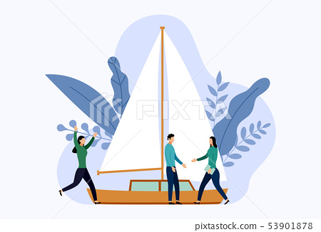 Yacht or sailboats with human concepts, travel vec 53901878