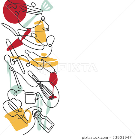 Cutlery line art background. One line drawing of different kitchen utensils. Vector 53901947