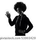 young teenager girl woman salute saluting shadow silhouette isolated 53903429