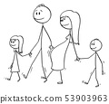 Vector Cartoon of Family of Man and Pregnant Woman Walking Together With Two Children 53903963