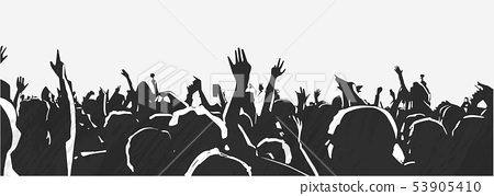 Large crowd of young people at live music festival 53905410