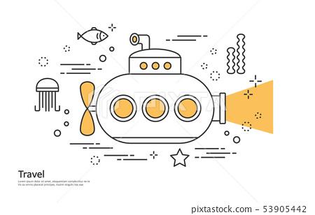 線例證,例證,旅行,潛水艇,海,探索 53905442