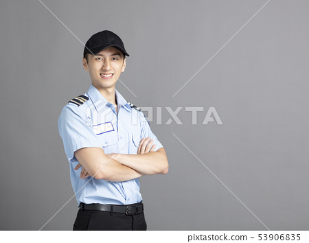 Portrait Of Asian Male Security Guard 53906835
