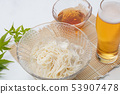 Chilled somen and beer in a glass dish with white background 53907478