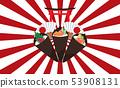 Temaki sushi on the japan background 53908131