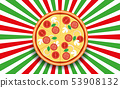 pizza on italian background 53908132