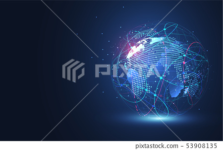 Global network connection. World map point 53908135