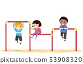 Stickman Kids Playground Triple Horizontal Bar 53908320