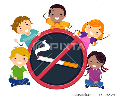 Stickman Kids No To Smoking Illustration 53908324