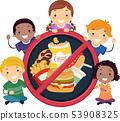 Stickman Kids No To Junk Foods Illustration 53908325