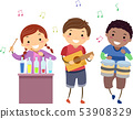 Stickman Kids Music Instruments Illustration 53908329