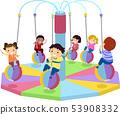 Stickman Kids Indoor Merry Go Round Illustration 53908332