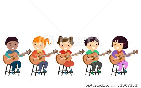 Stickman Kids Guitar Tutorial Class Illustration 53908333