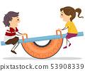 Stickman Kids Tire Seesaw Playground Illustration 53908339