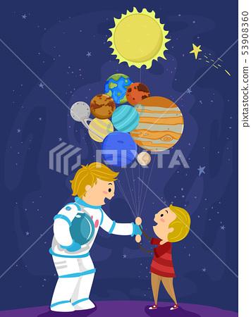 Stickman Kid Boy Dad Balloon Planets Illustration 53908360
