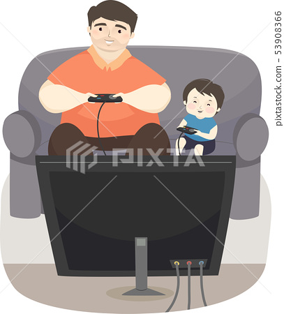 Kid Boy Father Play Video Games Illustration 53908366