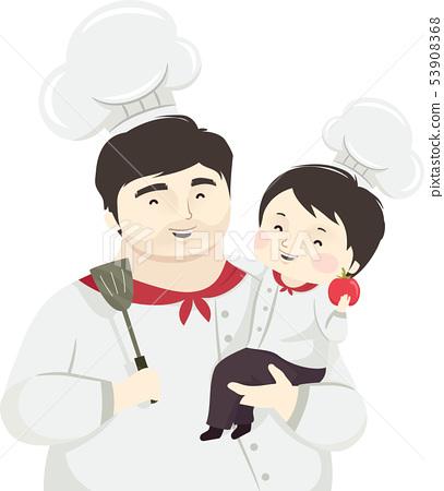 Kid Boy Father Chef Illustration 53908368