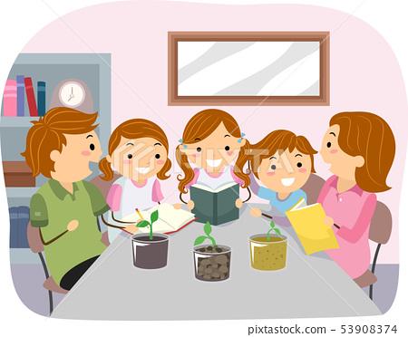 Stickman Kids Family Soil Test Illustration 53908374