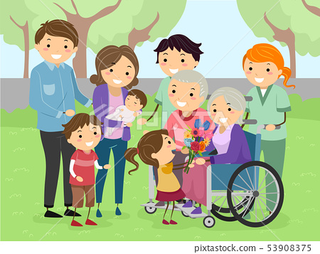 Stickman Family Visit Grandparents Illustration 53908375