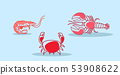 cartoon red crab lobster shrimb icon fresh seafood concept hand drawn sketch horizontal 53908622