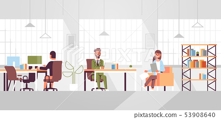 corporate staff employees working in creative co-working open space coworkers businesspeople sitting 53908640