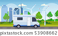 caravan car family trailer truck driving on road recreational travel vehicle camping concept wind 53908662