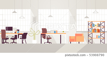 creative workplace modern open space empty nobody office interior contemporary co-working center 53908790