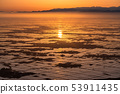 新潟新潟縣夜明け越後平原的黎明和水鏡 53911435